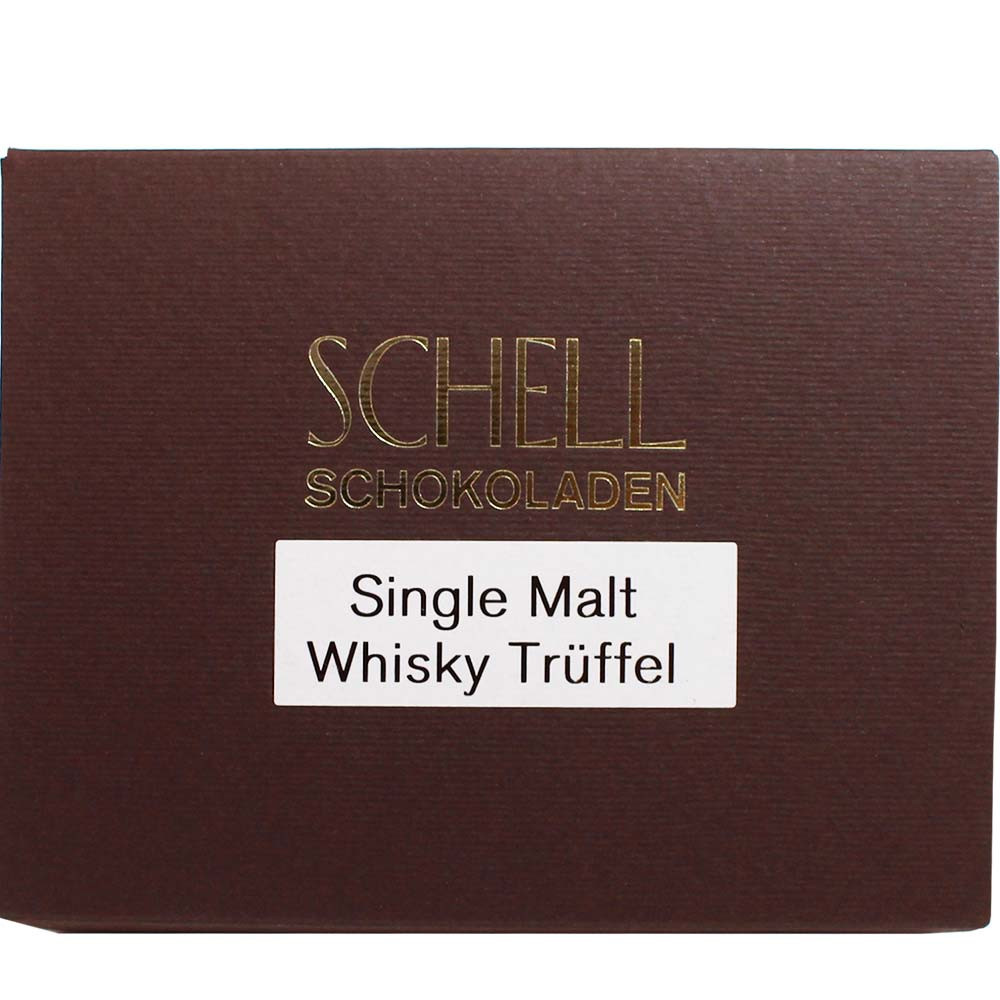 Schell Schokolade, Pralinen, Zartbitterschokolade, Dunkle Schokolade, Schell, Trüffel gefüllt, Whisky, Deutschland - Pralines, Germany, german chocolate, chocolate with whisky, whisky chocolate - Chocolats-De-Luxe