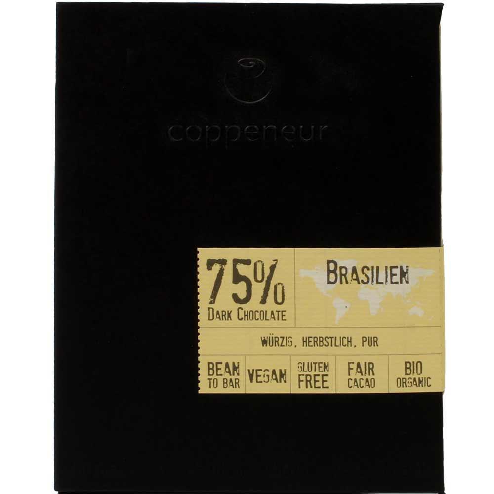 75% Brasilien Dark Chocolate BIO - dunkle Schokolade - Chocoladerepen, glutenvrij, veganistische chocolade, Duitsland, Duitse chocolade, pure chocolade zonder ingrediënten - Chocolats-De-Luxe