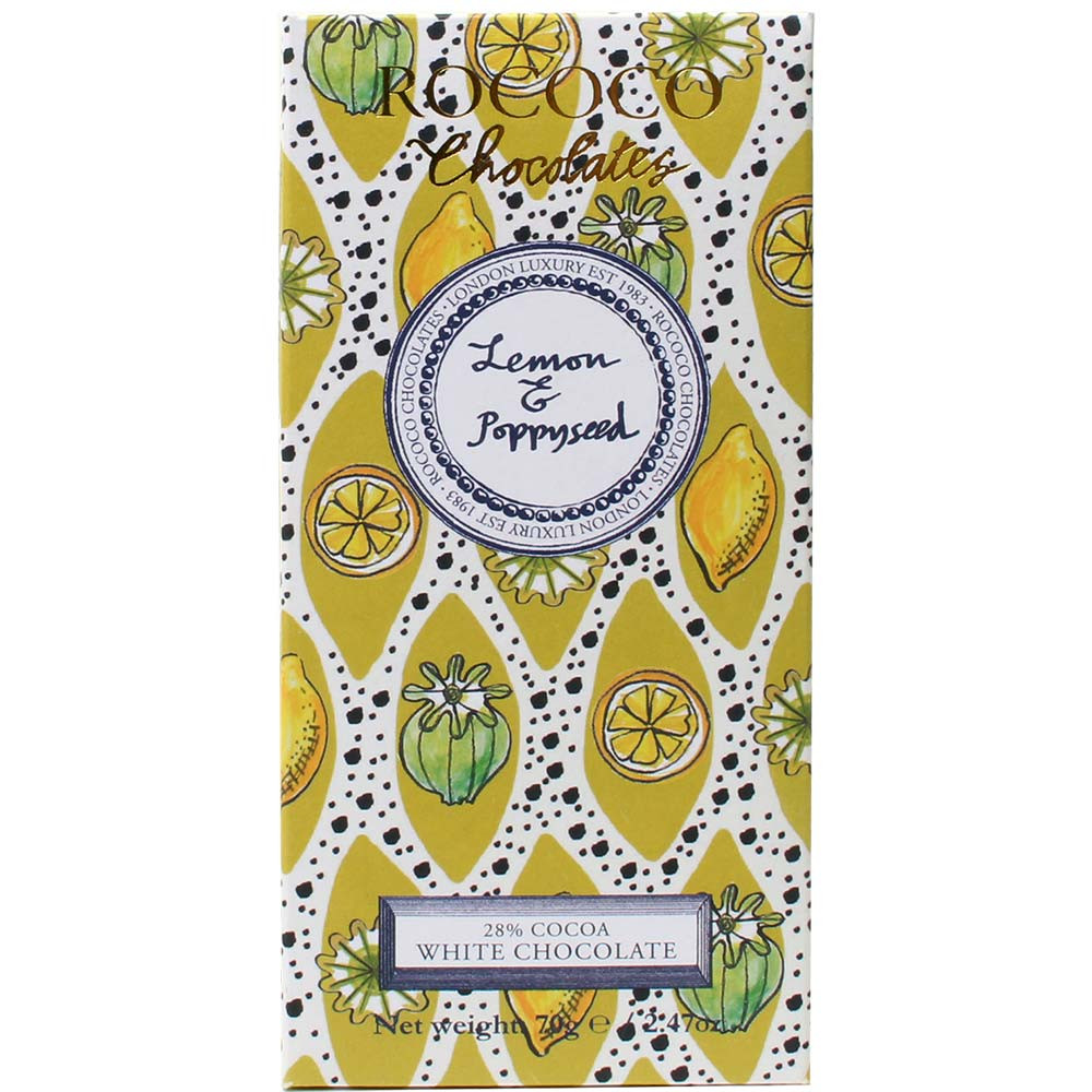 Lemon & Poppyseed 28% White Chocolate - Bar of Chocolate, England, english chocolate, Chocolate with lemon - Chocolats-De-Luxe