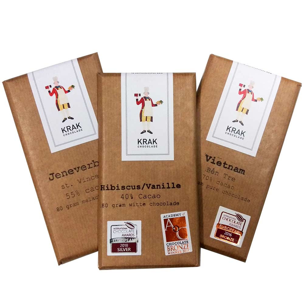 Tasting set with 3 excellent chocolates for the Krak Chocolade Chocolate Festival -  - Chocolats-De-Luxe