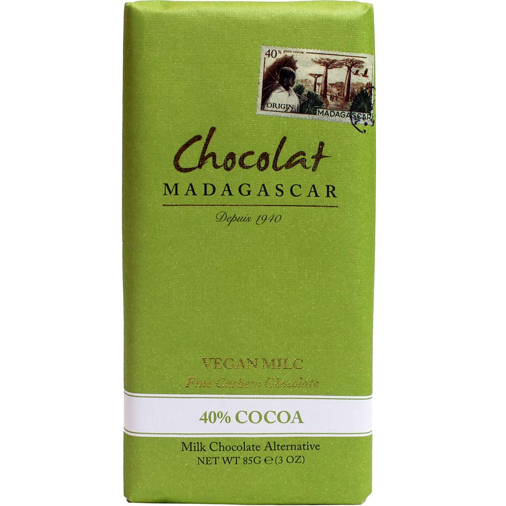 Chocolat Madagascar Vegan Milc 40% Chocolate fino con anacardos - Barras de chocolate, chocolate sin lactosa, Madagascar, chocolate malgache, Chocolate con nueces - Chocolats-De-Luxe