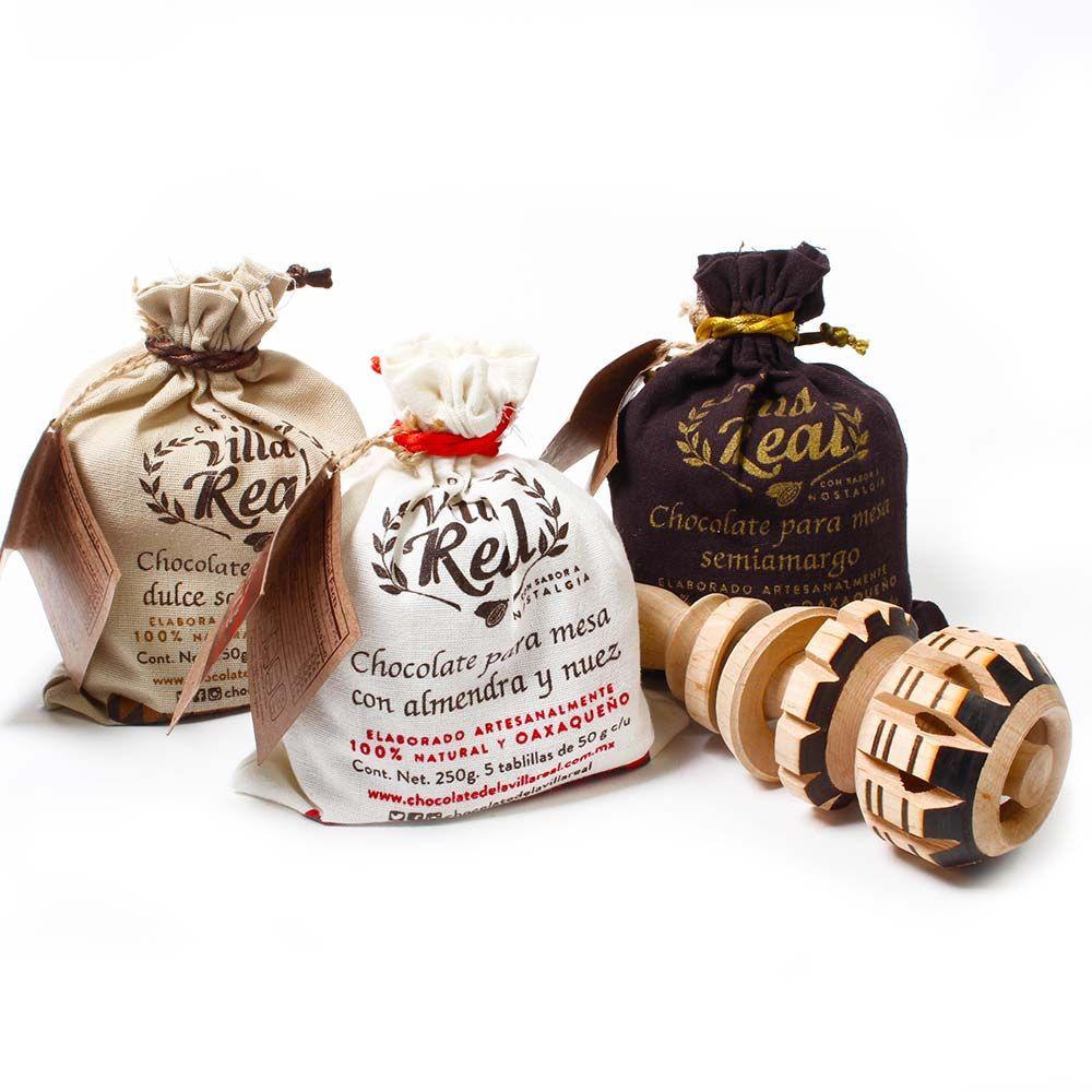 Set de chocolat à boire avec fouet en bois original mexicain Molinillo 33cm , Chocolat chaud , - Chocolats-De-Luxe