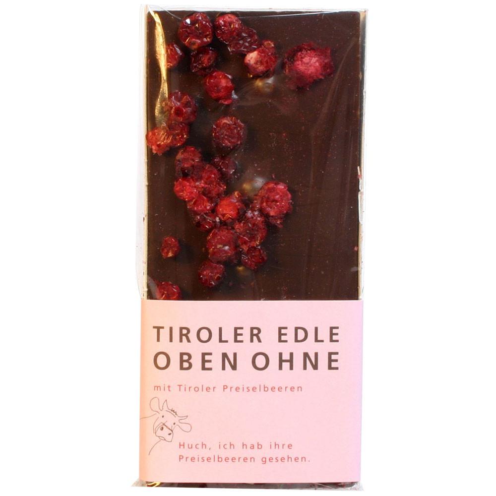 Tiroler Edle Österreich Domori Tiroler Grauvieh dunkle Schokolade mit Preiselbeeren 75% dark chocolate chocolat au alit                                                                                  -  - Chocolats-De-Luxe
