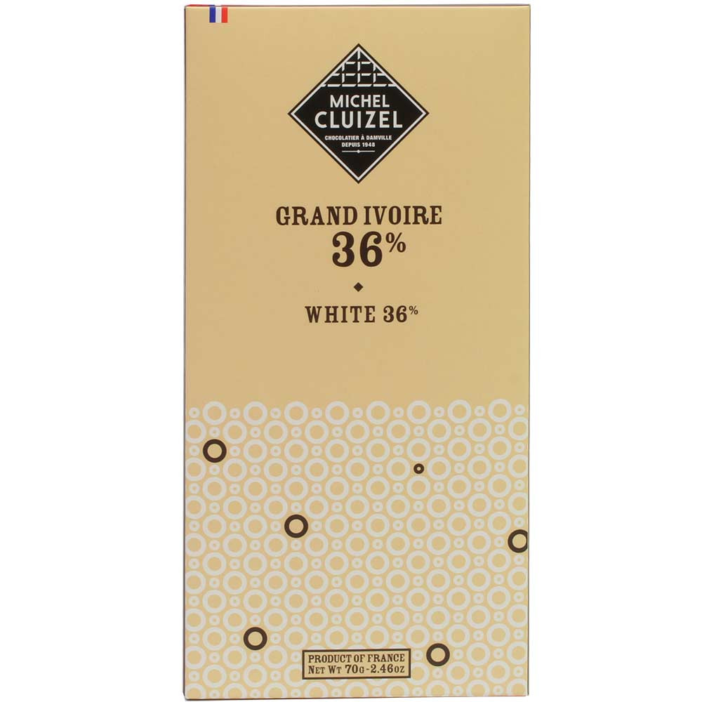 """Grand Ivoire"" White 36% white chocolate - Bar of Chocolate, without artificial flavourings / additives, France, french chocolate - Chocolats-De-Luxe"