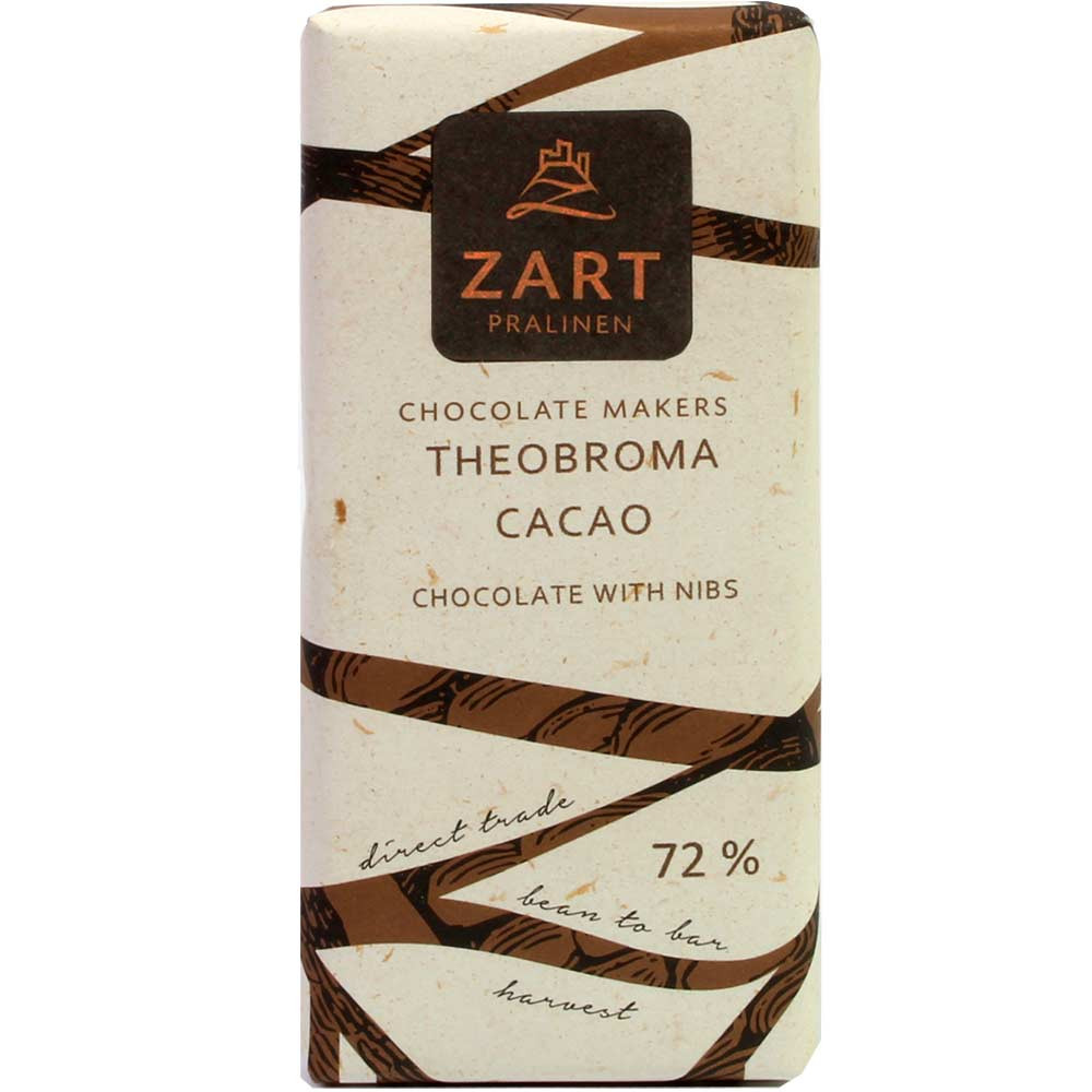 72% Theobroma Cacao with Cocoa Nibs , 2017 , Bar of Chocolate , dark chocolate , Ecuador, Nicaragua , Chocolate from South America , 72 % , Cocao Mix, Cacao Blend , Bean-To-Bar Chocolate , Austria, austrian chocolate , Chocolate with cocoa /-nibs , off-white , directly traded, Chocolate Fairly traded , vegan-friendly , German/Austrian/Swiss Gold , sleeve, Sticker , - Chocolats-De-Luxe