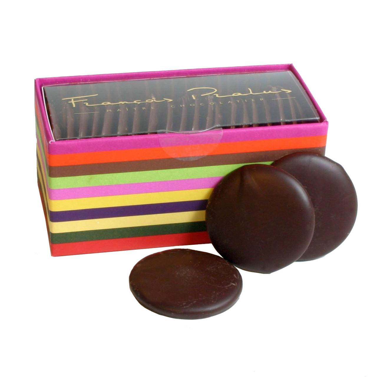 Dunkle Schokolade, Schokoladen Taler, chocolat noir, dark chocolate, Chuao, Venezuela, Herkunftsschokolade, Bean to Bar, 75%, Galets, Chocolate Buttons