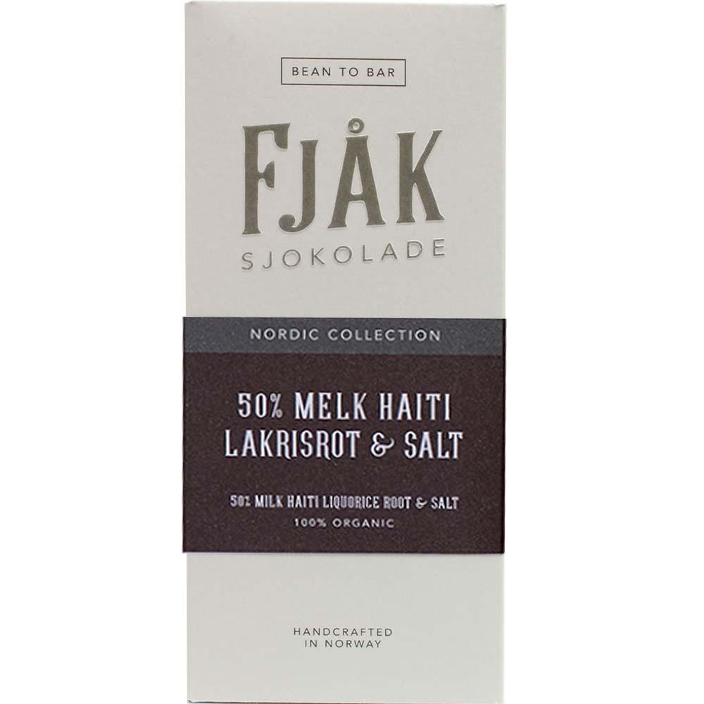 50% Melk Haiti Lakrisrot & Salt Milchschokolade mit Salz-Lakritz - Bar of Chocolate, gluten free chocolate, Norway, Norwegian chocolate, chocolate with liquorice, liquorice chocolate - Chocolats-De-Luxe