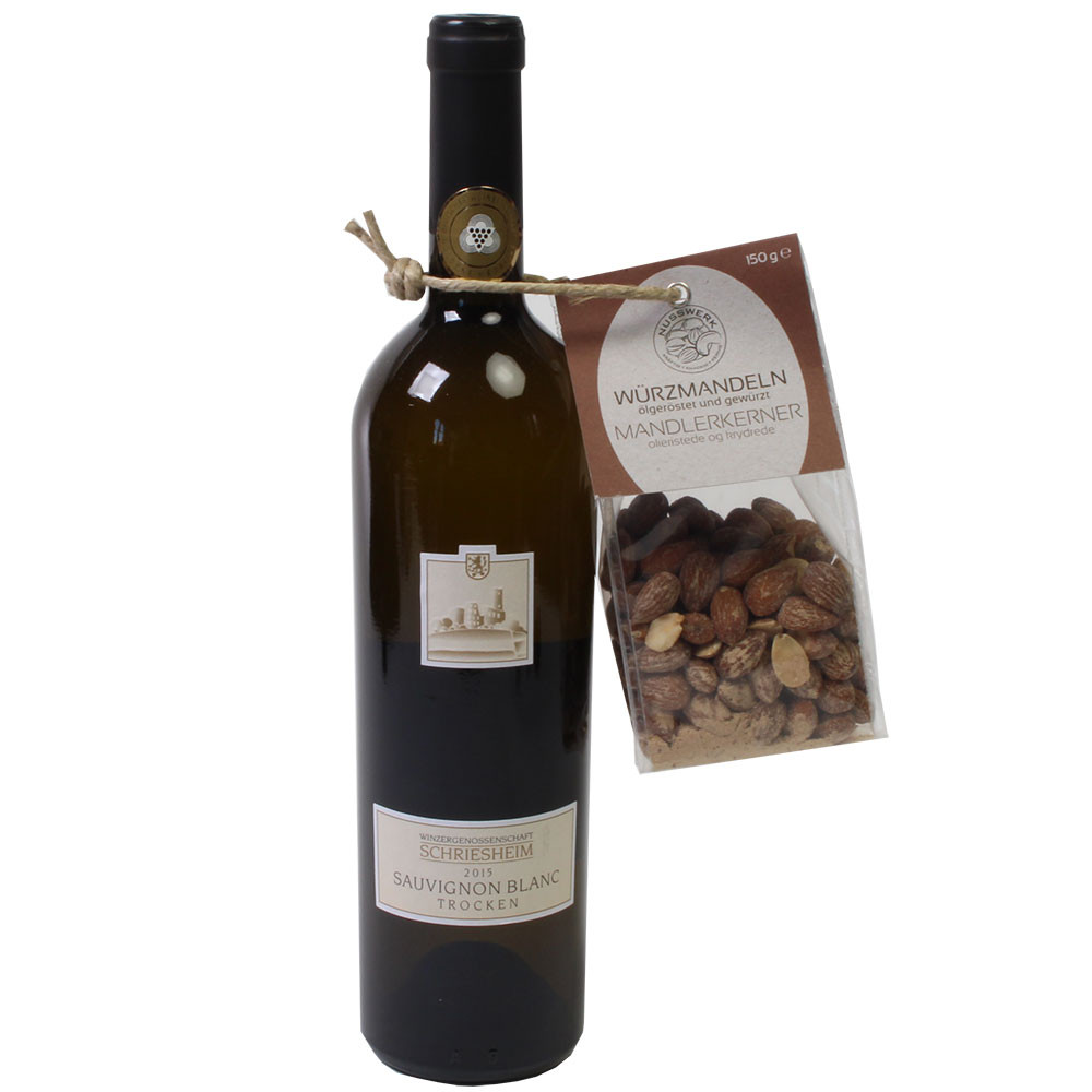 Estuche de regalo Crujiente combinación de vino y frutos secos