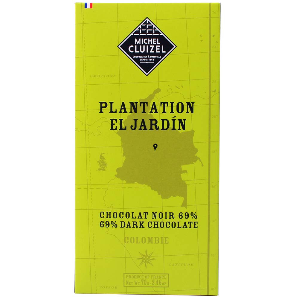 Plantation El Jardin Colombia Dunkle Schokolade 69% - Bar of Chocolate, lecithin free chocolate, soy free chocolate, vegan-friendly, without artificial flavourings / additives, France, french chocolate, chocolate with vanilla, vanilla chocolate - Chocolats-De-Luxe