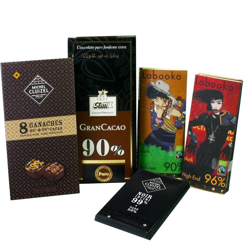Bitterschokolade, dunkle Schokolade, Schokoladengeschenk, Probierschokolade, Probierset, dark chocolate, chocolat noir,                                                                                  -  - Chocolats-De-Luxe