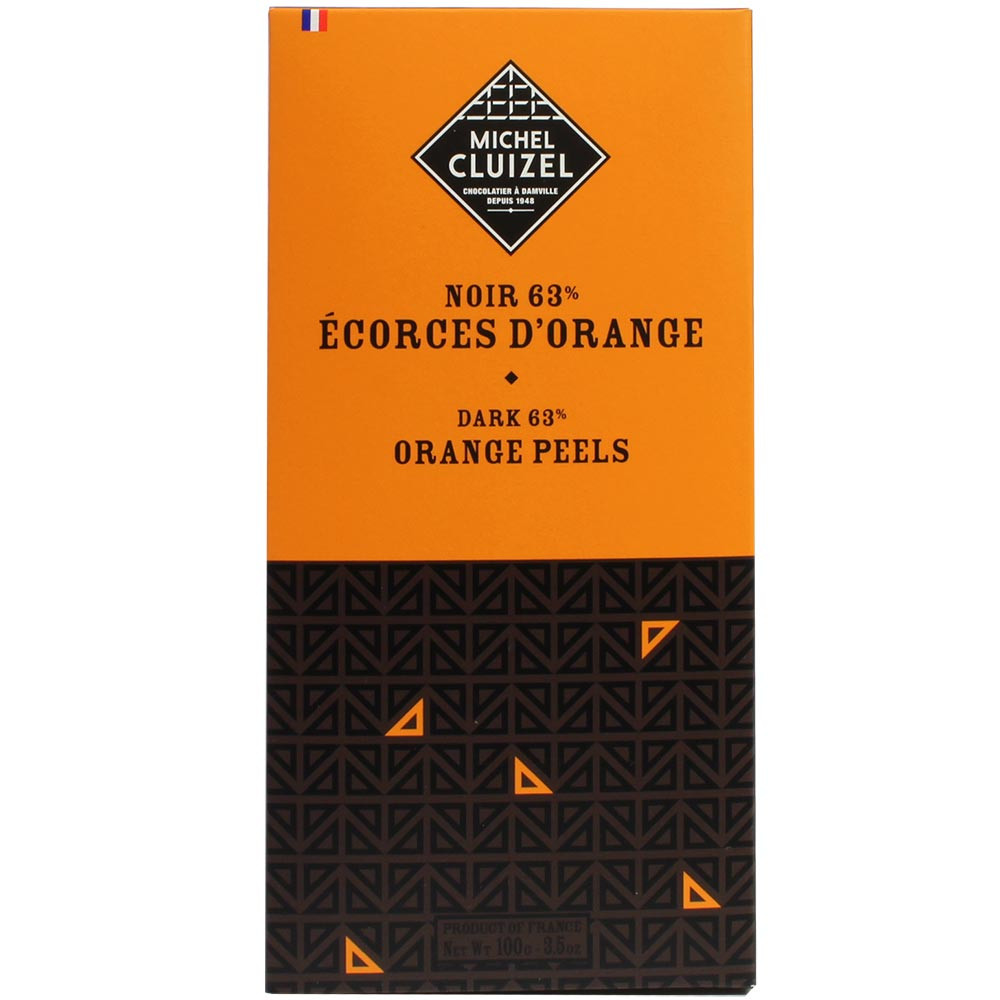 Dunkle Schokolade 63% buccia d'arancia nera - Tavola di cioccolato, cioccolato senza soia, sans arômes artificiels / additifs, vegan-cordiale, Francia, cioccolato francese, cioccolato all'arancia - Chocolats-De-Luxe
