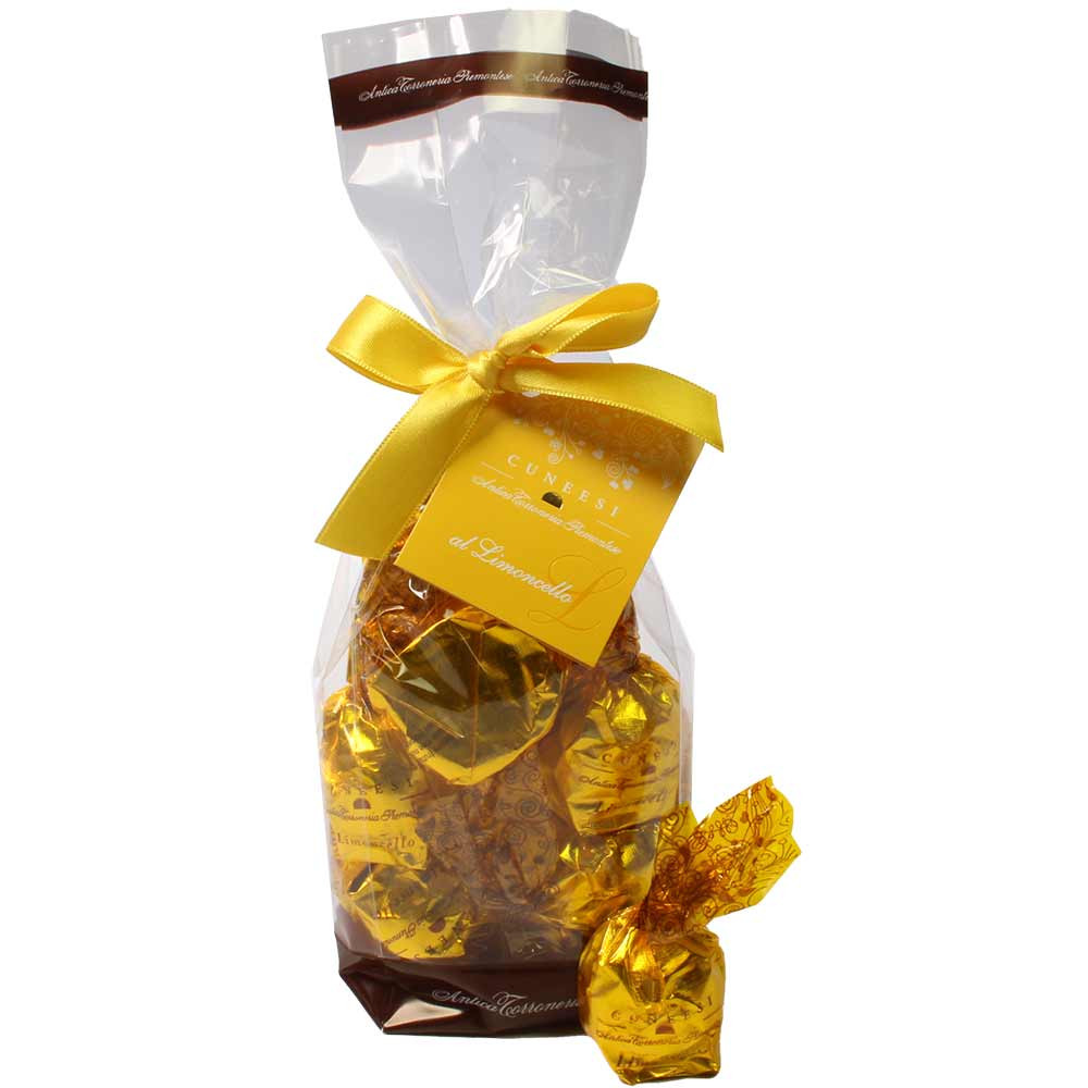 Cuneesi al Limoncello - Schokoladenpralinen mit Limoncello im Beutel - Pralines, with alcohol, Italy, italian chocolate, Chocolate with alcohol - Chocolats-De-Luxe