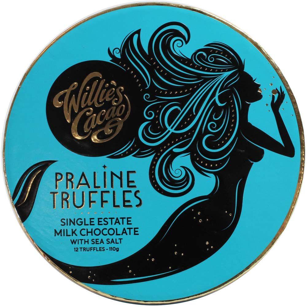Pralinen Trüffel in Vollmilch Schokolade, Willies Cacao, blaue Geschenkbox, Meersalz, geröstete Haselnüsse