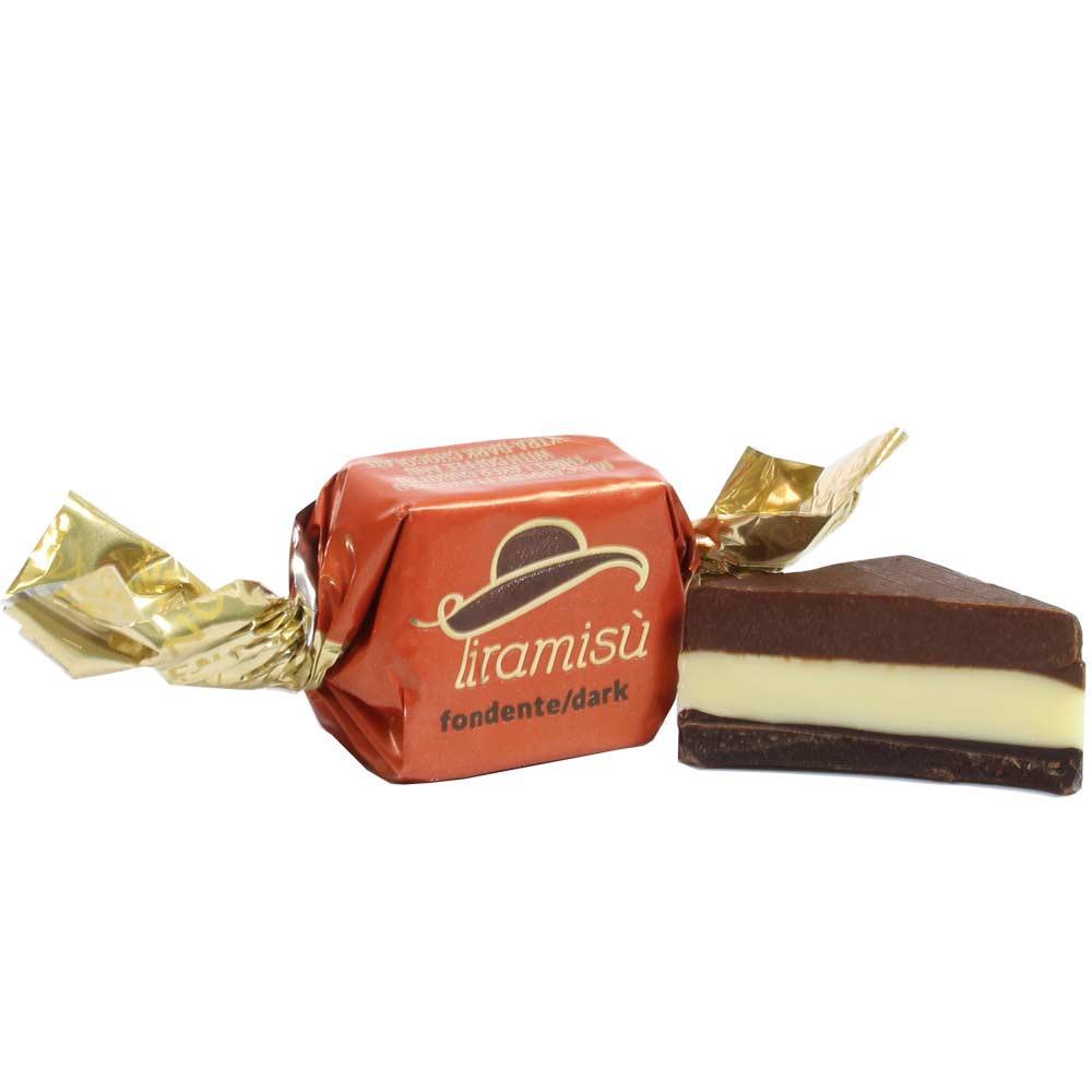Tiramisu fondente - chocolate negro con tiramisú como caramelo - Bombones, SweetFingerfood, Chocolate sin alcohol, chocolate sin gluten, Italia, chocolate italiano, Chocolate con café - Chocolats-De-Luxe