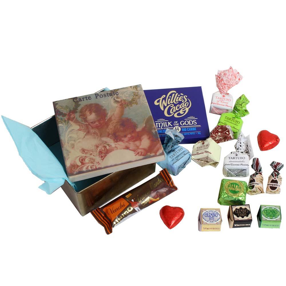 Caja regalo Heavenly Messenger con chocolate y bocadillos dulces -  - Chocolats-De-Luxe