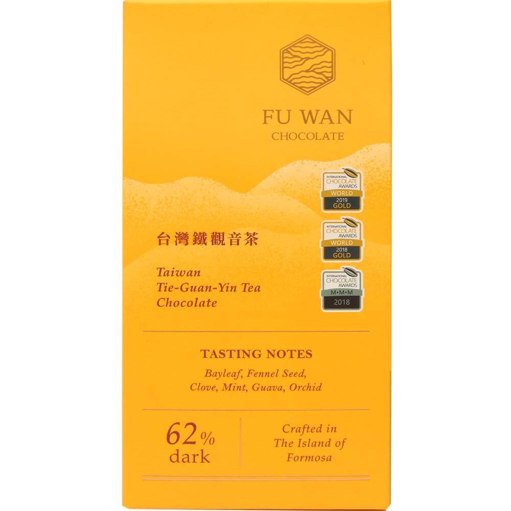 Taiwan Tie-Guan-Yin Tea Chocolate 62% dunkle Schokolade - Tablette de chocolat, Taïwan, chocolat taïwanais, Chocolat avec thé - Chocolats-De-Luxe