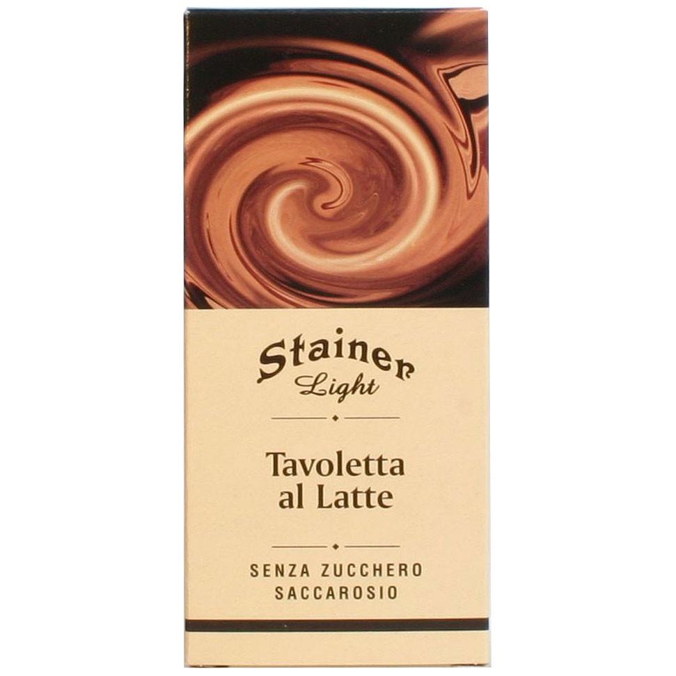 Light Schokolade Stainer Italien zuckerfrei Milchschokolade 36% sugarfree sans sucre milk chocolate chocola au lait