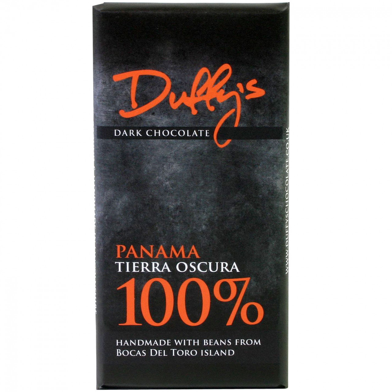 Panama Tierra Oscura, 100% Schokolade, Duffy's Chocolate, dark chocolate, chocolat noir, single origin, criollo, Venezuela - Bar of Chocolate, alcohol free Chocolate, gluten free chocolate, laktose free chocolate, lecithin free chocolate, milk protein free chocolate, nut free chocolate, palm oil free chocolate, soy free chocolate, sugar free chocolate, suitable for vegetarians, vegan-friendly, without artificial flavourings / additives, England, english chocolate - Chocolats-De-Luxe