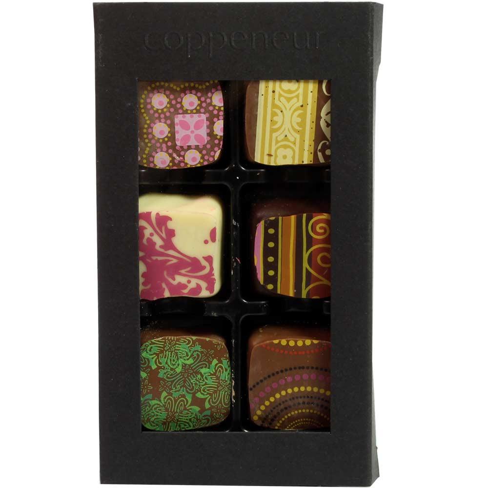 Bombones de postre con y sin alcohol - Bombones, con el alcohol, Alemania, chocolate alemán, chocolate con pistacho - Chocolats-De-Luxe
