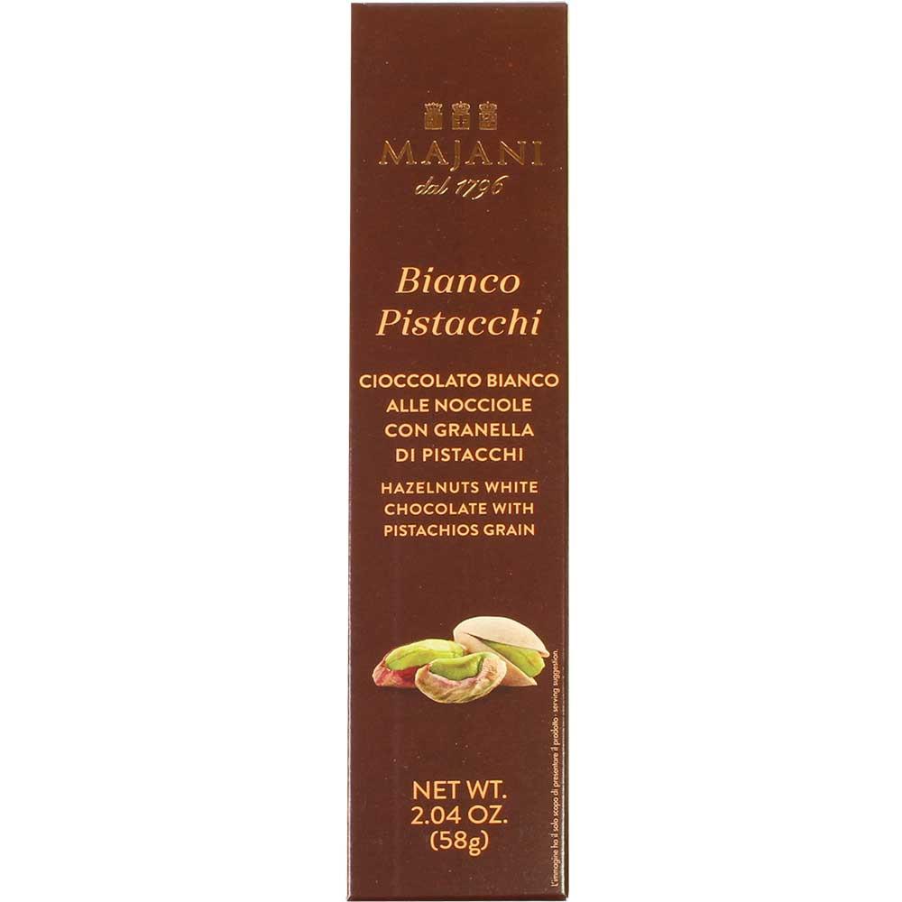 Bianco Pistacchi - Cioccolato bianco alle Nocciole con granella di Pistacchi - Barretta, cioccolato senza glutine, Italia, cioccolato italiano, cioccolato al pistacchio - Chocolats-De-Luxe