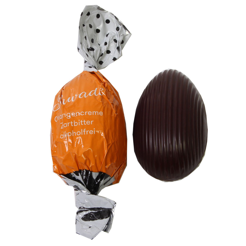 Easter egg orange cream dark chocolate alcohol-free - Sweet Fingerfood, alcohol free Chocolate, Germany, german chocolate, chocolate with orange - Chocolats-De-Luxe