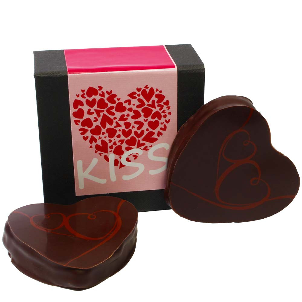 Chocolate hearts for two - Pralines, palm oil free chocolate, without artificial flavourings / additives, France, french chocolate, chocolate with nougat, nougat chocolate - Chocolats-De-Luxe