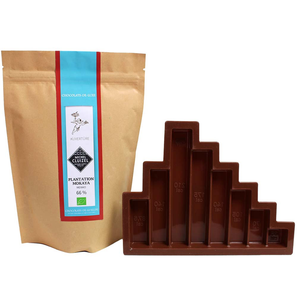 Divertimento al cioccolato - stampo con copertura Mokaya 66% -  - Chocolats-De-Luxe