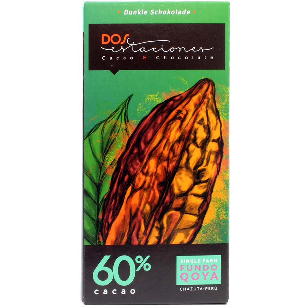60% Cacao Single Farm Fundo Qoya Chazuta Peru ORGANIC chocolate - Bar of Chocolate, gluten free chocolate, vegan chocolate, Germany, german chocolate, plain pure chocolate without ingredients - Chocolats-De-Luxe