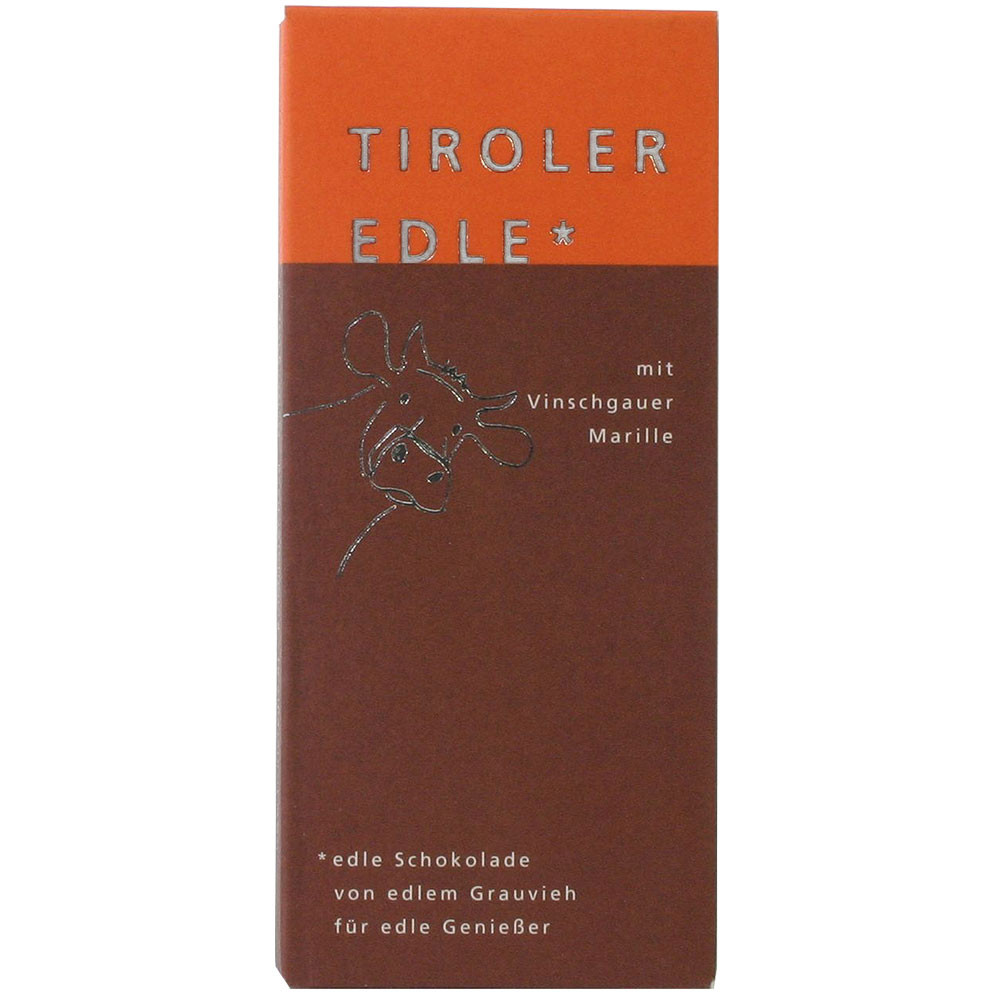 Tiroler Edle Österreich Tiroler Grauvieh Rahm ohne Konservierungsstoffe Marille Milchschokolade milk chocolate filled chocolate apricot