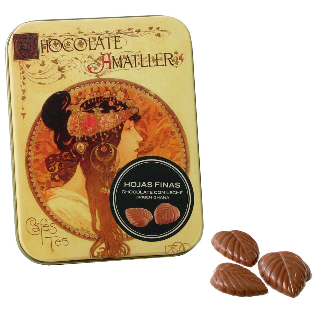32% chocolate leaves con leche 30g - Napolitains, Chocolate Squares, Italy, italian chocolate - Chocolats-De-Luxe