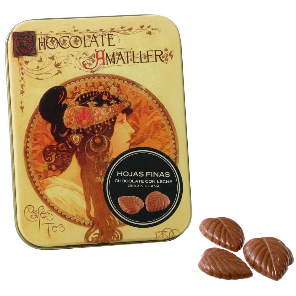 Feuilles de chocolat 32% con leche 30g - Napolitains, Carrés au chocolat, Italie, chocolat italien - Chocolats-De-Luxe