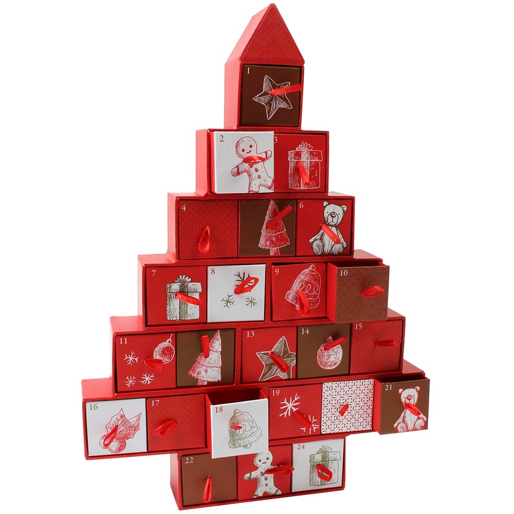 Advent calendar red tree filled with tartufi