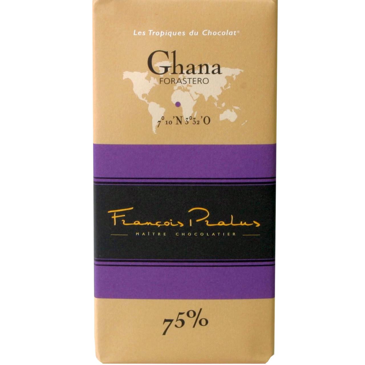 dunkle Schokolade, 75% Ghana, Forastero, Afrika, Africa, Afrique, dark chocolate, chocolat noir, single origin chocolate - Tablette de chocolat, France, chocolat français - Chocolats-De-Luxe