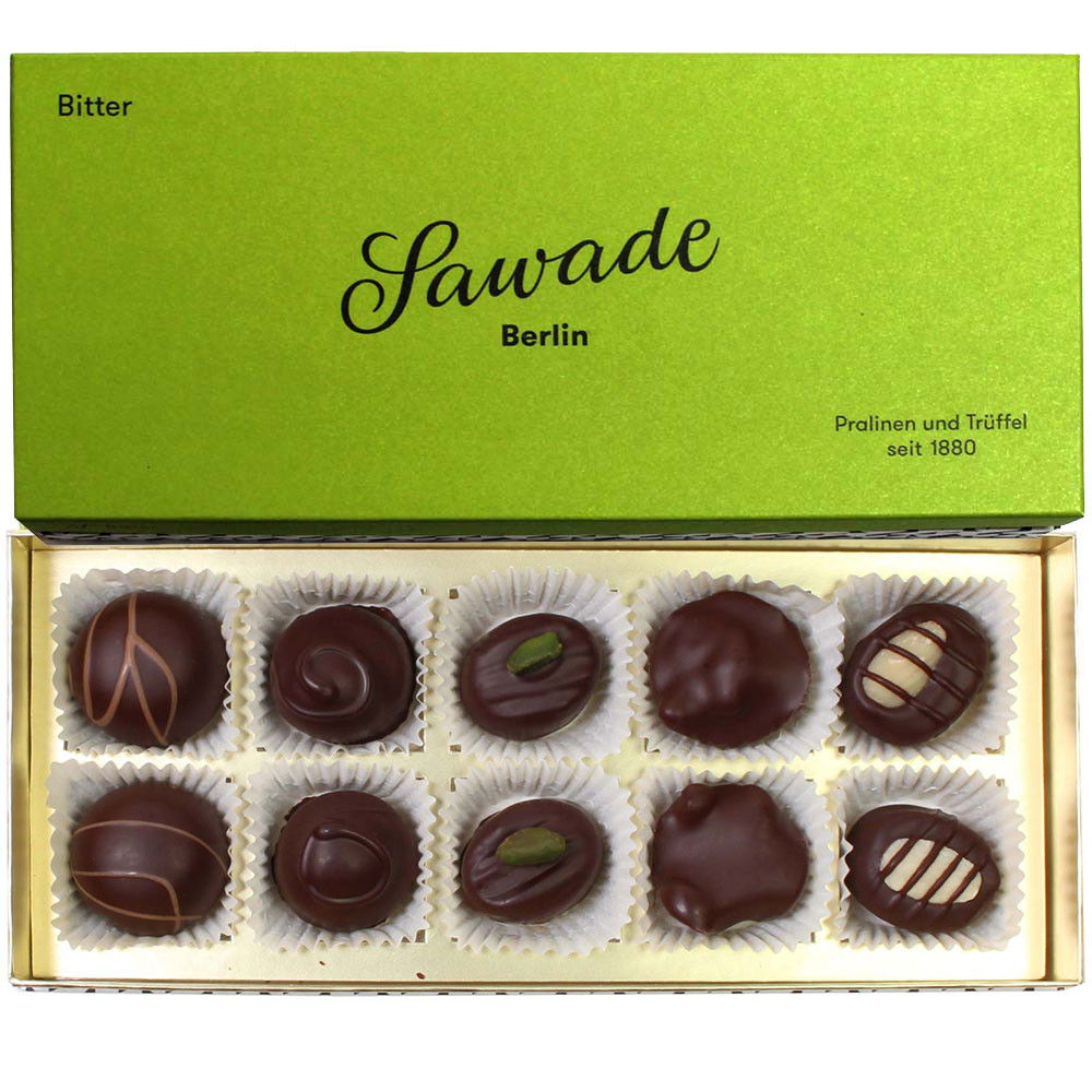 Box of bitters - chocolates with alcohol - Pralines, suitable for vegetarians, with alcohol, Germany, german chocolate, Chocolate with alcohol - Chocolats-De-Luxe