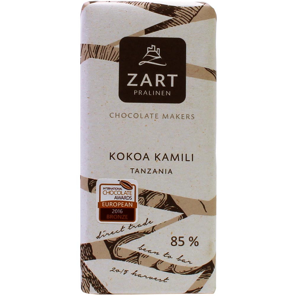 85% Kokoa Kamili Tanzania Schokolade - Bar of Chocolate, Austria, austrian chocolate, Chocolate with sugar - Chocolats-De-Luxe