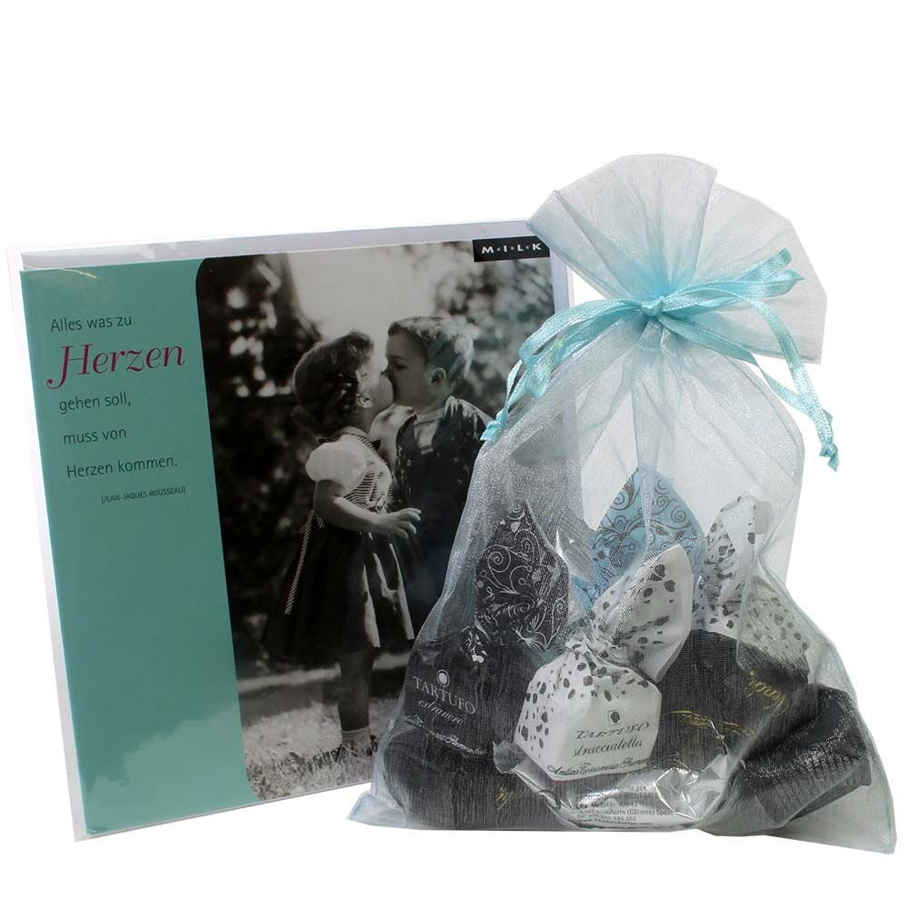Von Herz zu Herz Geschenkset mit Grußkarte -  - Chocolats-De-Luxe