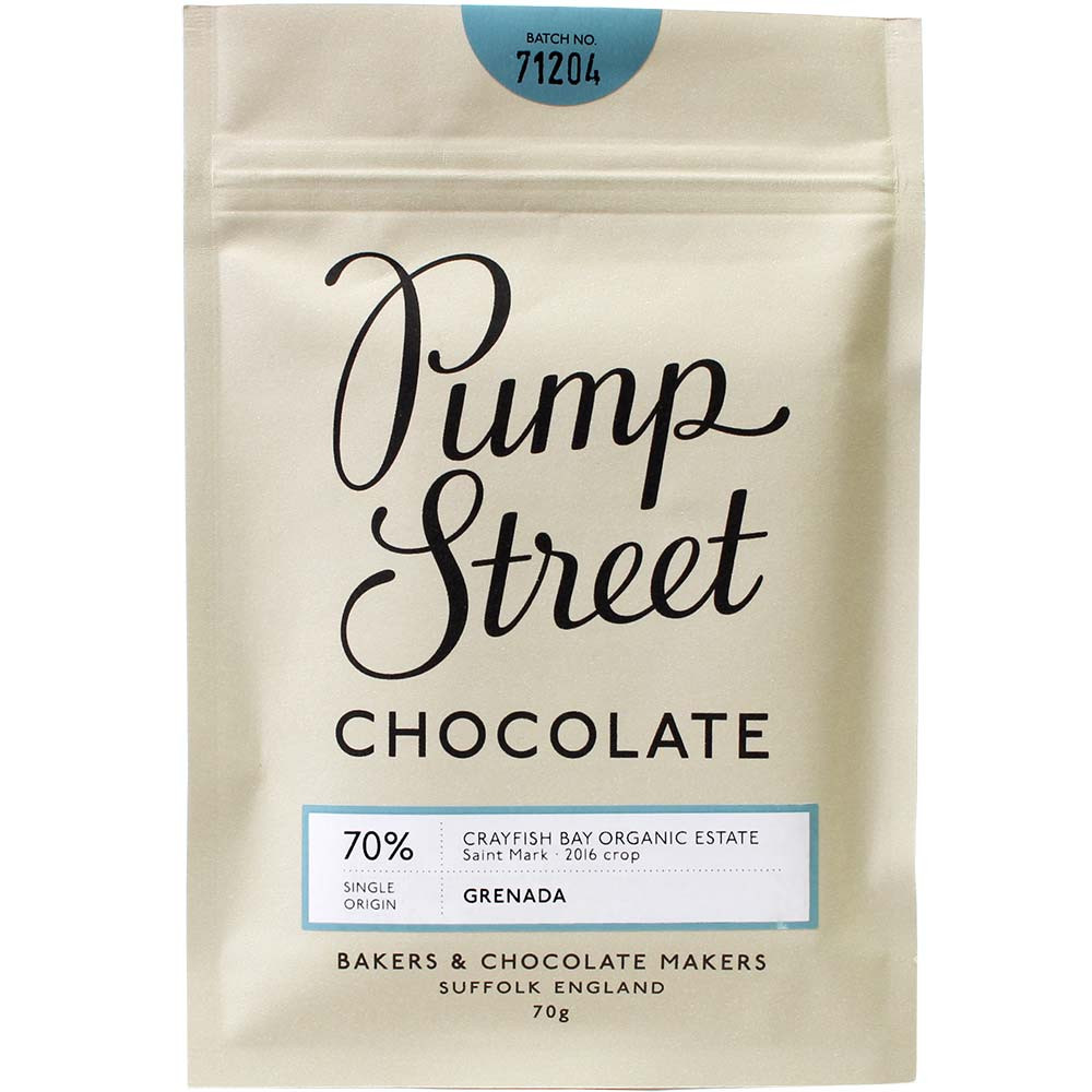 Pump Street Chocolate, Pump Street Bakery, Crayfish Bay, Grenada, Organic Estate, chocolats-de-luxe.de, Dunkle Schokolade - Bar of Chocolate, alcohol free Chocolate, laktose free chocolate, soy free chocolate, vegan-friendly, vegan chocolate, England, english chocolate - Chocolats-De-Luxe
