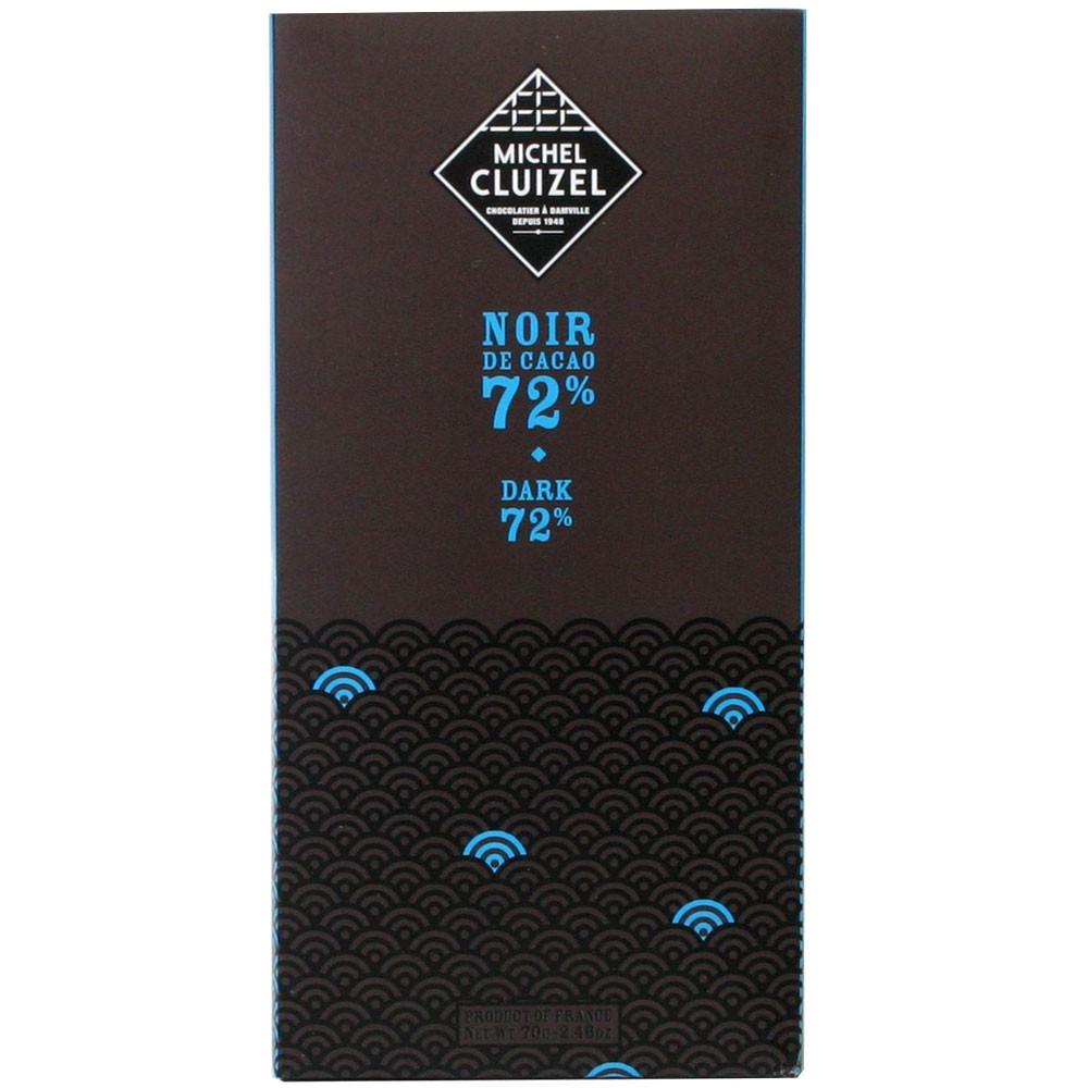 Cluizel, dunkle Schokolade, 72% Kakaogehalt, dark chocolate, chocolat noir, France, Zartbitterschokolade                                                                                                 - Bar of Chocolate, lecithin free chocolate, France, french chocolate, Chocolate with sugar - Chocolats-De-Luxe