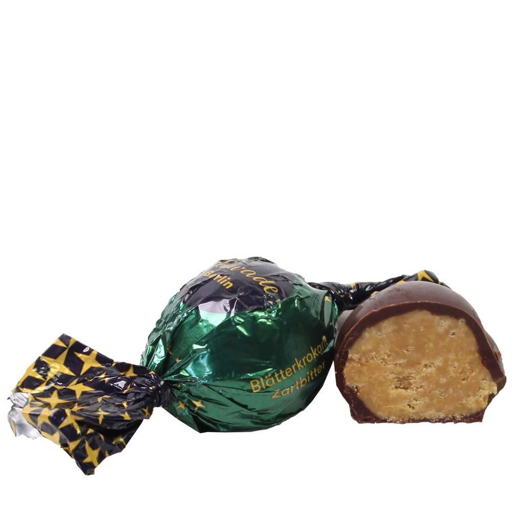 Pallina croccante al cioccolato fondente - Fingerfood dolce, adatto ai vegetariani, Cioccolato senza alcol, cioccolato senza glutine, cioccolato senza OGM, sans arômes artificiels / additifs, Germania, cioccolato tedesco, Cioccolato con croccante - Chocolats-De-Luxe