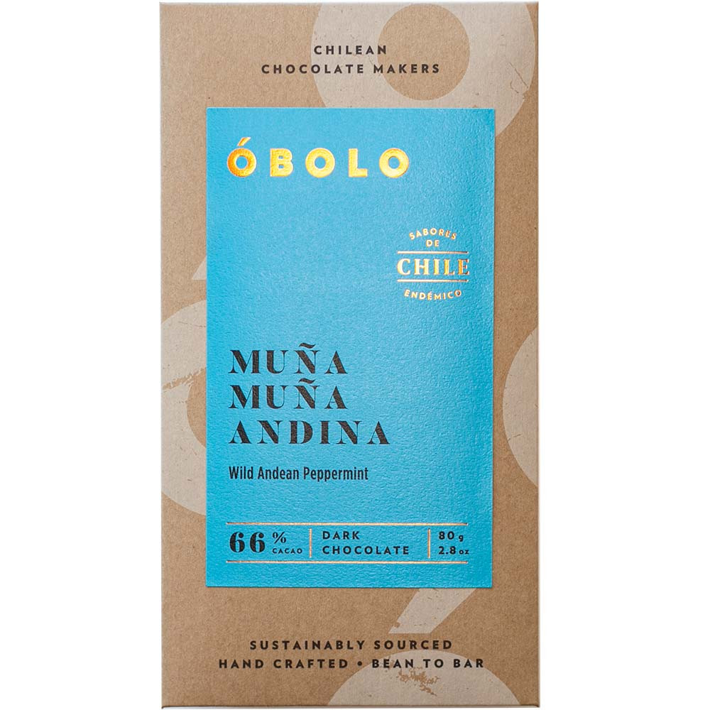Muna Muna Andina 66% Schokolade mit Pfefferminze - Tablette de chocolat, chocolat sans gluten, chocolat sans soja, chocolat végétalien, Chili, chocolat chilien, Chocolat avec menthe - Chocolats-De-Luxe