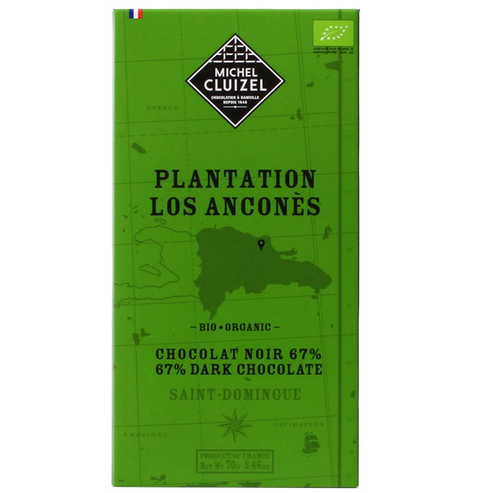 Plantation Los Anconès Dark chocolate 67% Zartbitterschokolade , Bar of Chocolate , dark chocolate , Dom. Republic , Chocolate from Central America , 67 % , Trinitario cocoa bean, Trinitario cacao bean , Bean-To-Bar Chocolate, Single Plantation chocolate , France, french chocolate , chocolate with vanilla, vanilla chocolate , green , organic chocolate , soy free chocolate, vegan-friendly, without artificial flavourings / additives , Academy of Chocolate - Silber, Regional Silver - Intern. Chocolate Awards, Schupp List 5 Star , sleeve, Sticker, tag , Birthday, Guest present, Thankyou ! , Gifts for companies, corporate gifts, Gifts for customers, customer gifts, Gifts for employees, Gifts for staff, Gifts for men, Gifts for office & colleagues, Gifts for women , red berry , Liquorice, Olive pulp , chocolatey, creamy, dark creamy, harmonic, strong , Cocoa , - Chocolats-De-Luxe