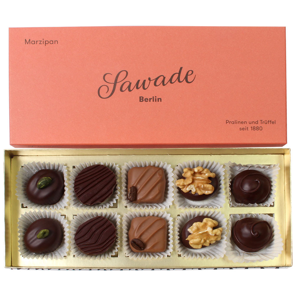 Marzipan Chocolate Gift box - Pralines, with alcohol, Germany, german chocolate, Chocolate with alcohol - Chocolats-De-Luxe