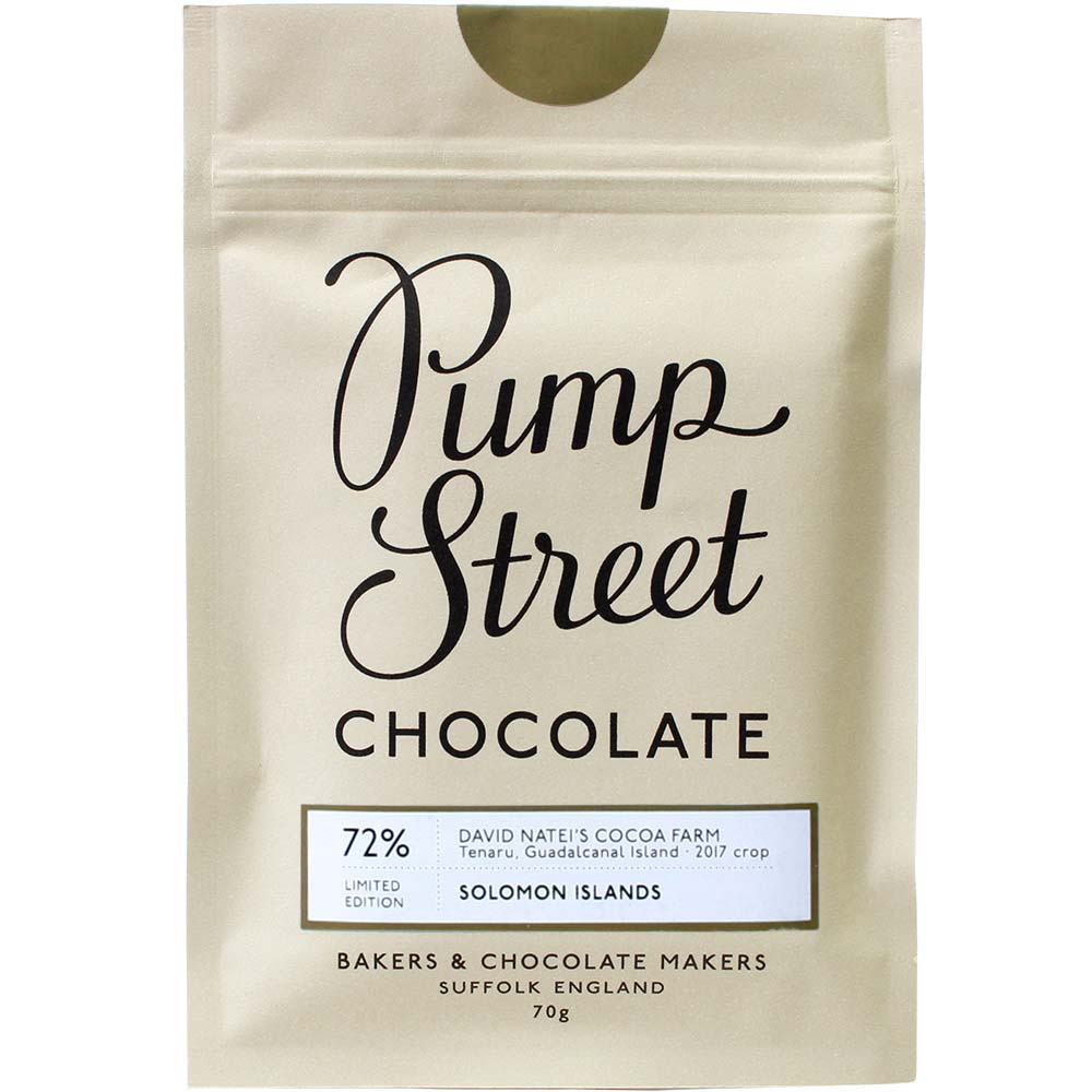 Pump Street Chocolate, 72% Solom Islands chocolate, Pump Street Bakery, Guadalcanal Island, bean-to-bar Schokolade, chocolats-de-luxe.de - Bar of Chocolate, England, english chocolate, Chocolate with sugar - Chocolats-De-Luxe