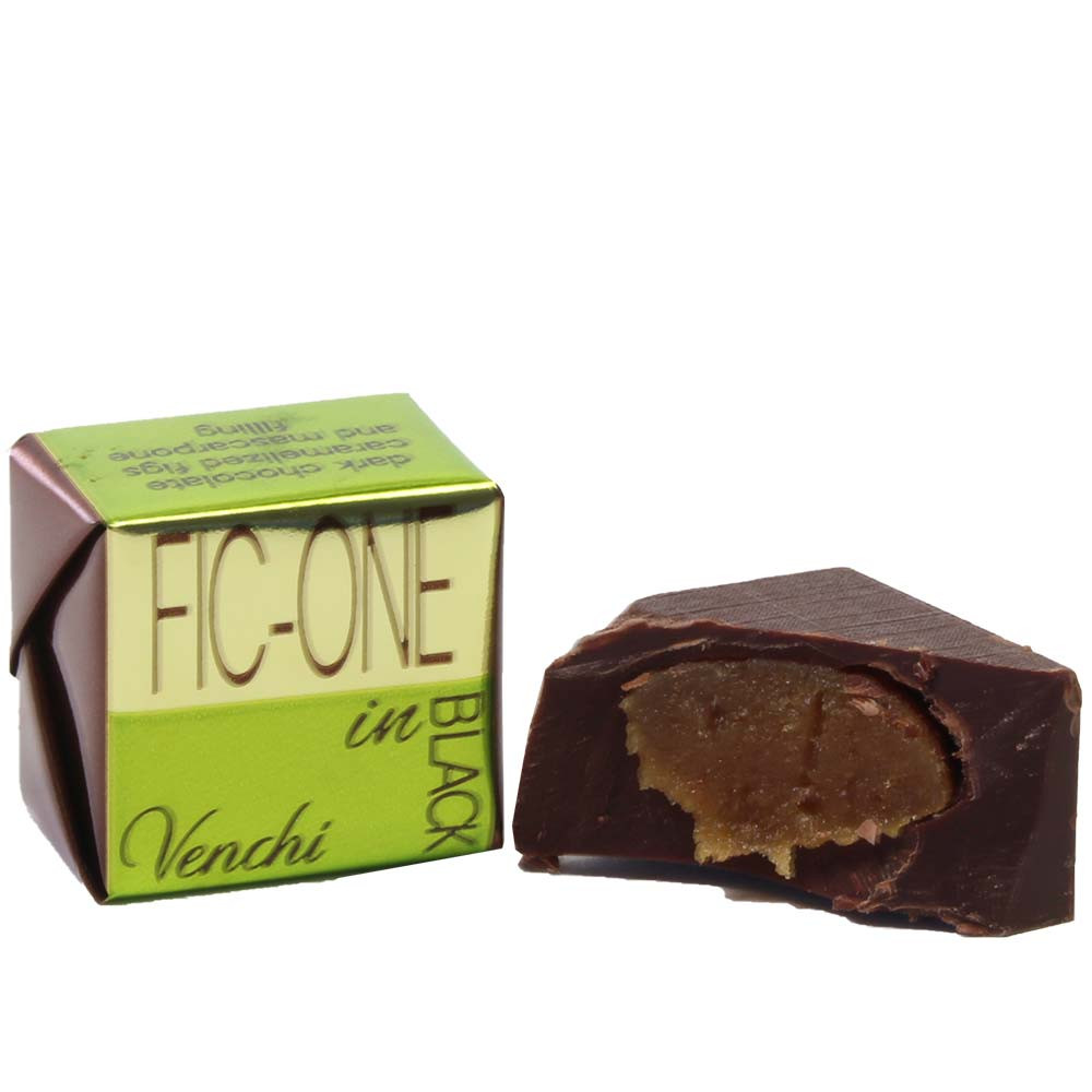 Fic-one in black chocolate cubes with fig and mascarpone cream filling - Pralines, Sweet Fingerfood, alcohol free Chocolate, gluten free chocolate, Italy, italian chocolate, Chocolate with fig - Chocolats-De-Luxe
