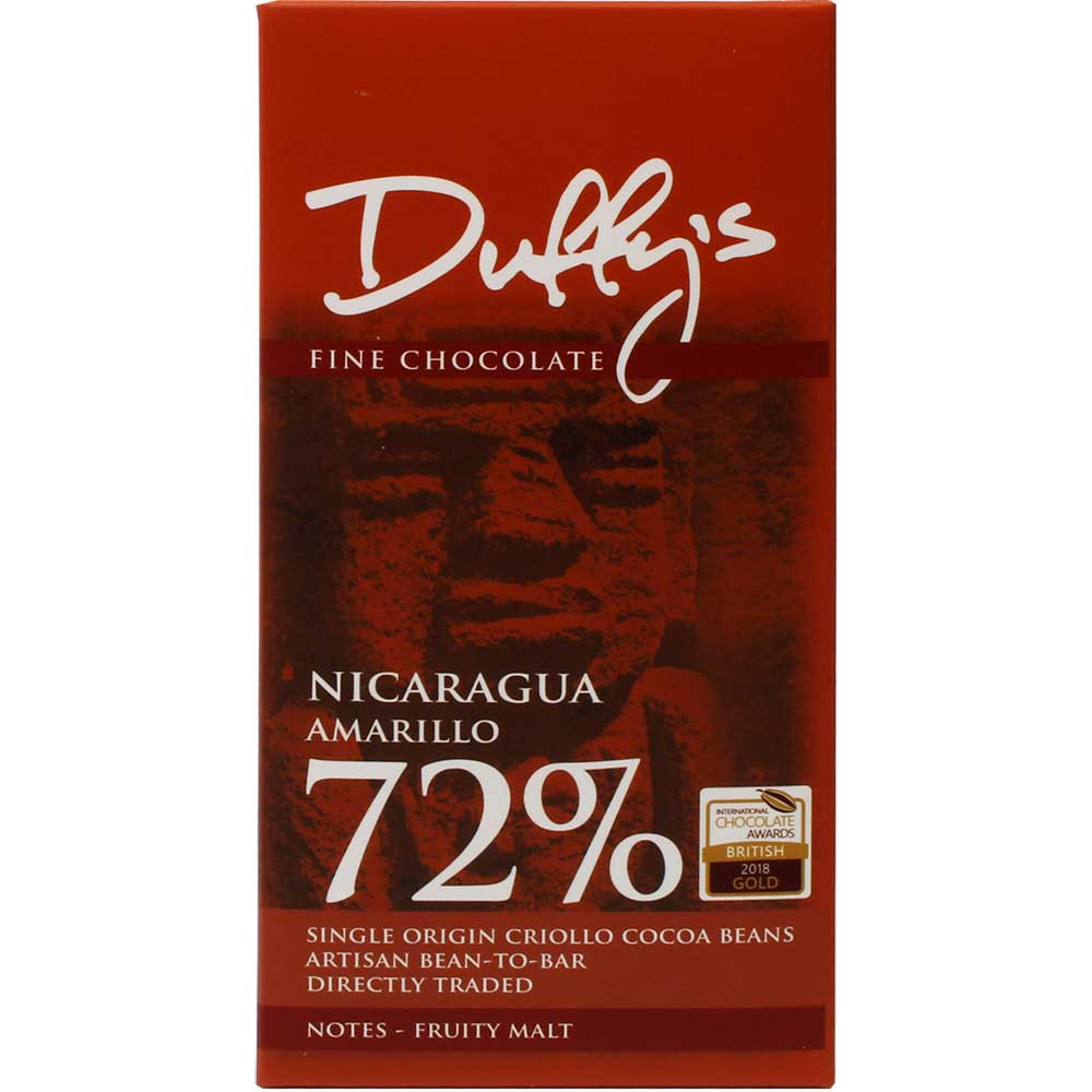 Nicaragua Amariollo 72% dunkle Schokolade - Bar of Chocolate, gluten free chocolate, nut free chocolate, soy free chocolate, vegan-friendly, England, english chocolate, Chocolate with sugar - Chocolats-De-Luxe