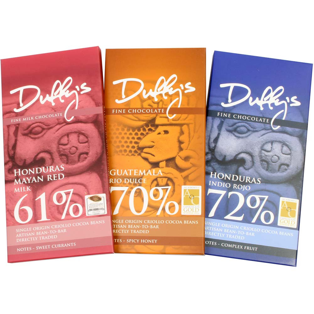 Tasting set with 3 excellent chocolates - nut free chocolate, England, english chocolate - Chocolats-De-Luxe