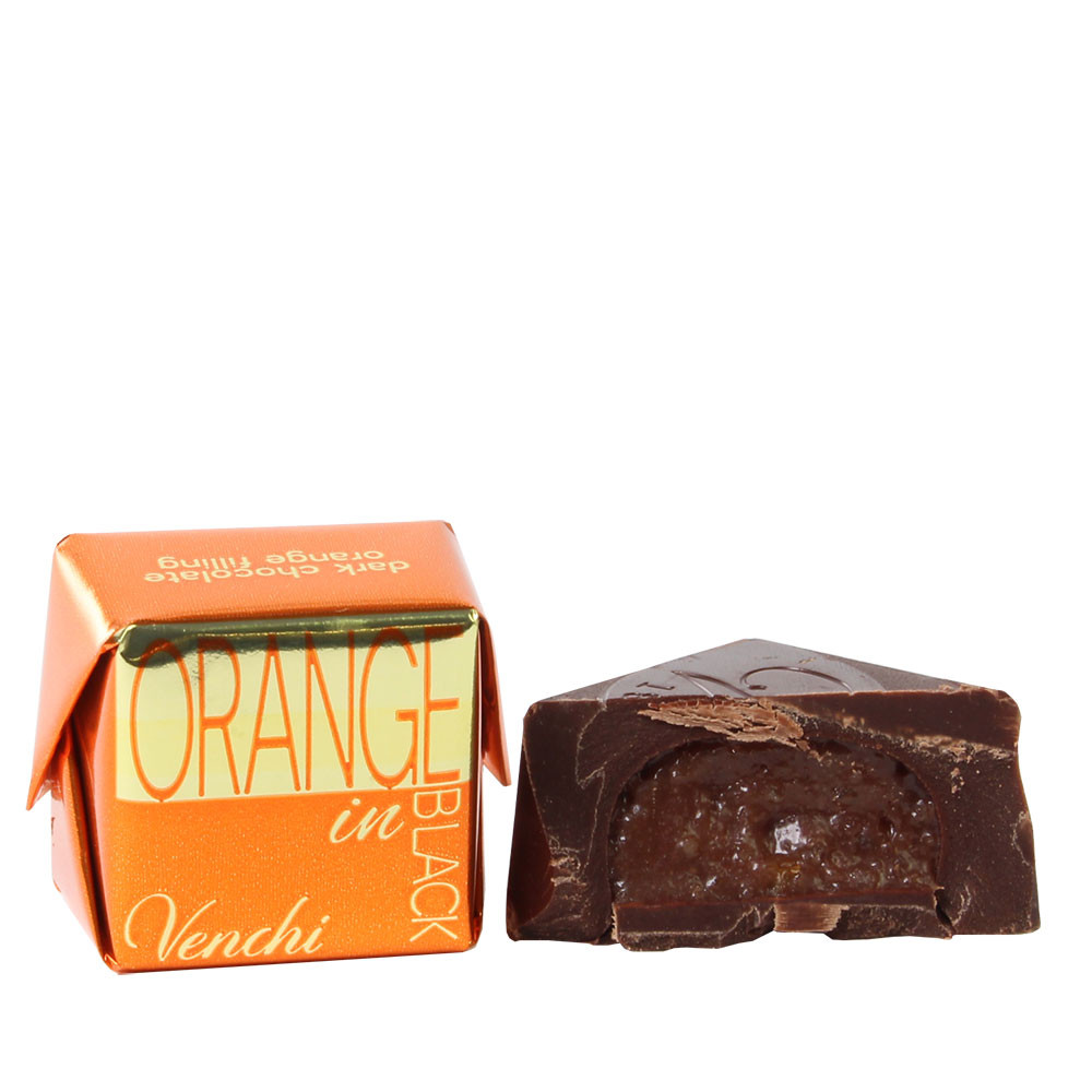 Orange in Black Chocolate Cubotto with Orange Filling - Sweet Fingerfood, alcohol free Chocolate, gluten free chocolate, Italy, italian chocolate, chocolate with orange - Chocolats-De-Luxe