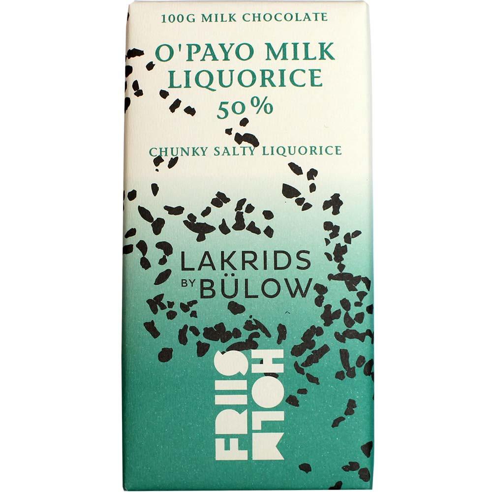 O'Payo Milk & Liquorice 50% chocolate con leche con regaliz - Barras de chocolate, adecuado para vegetarianos, chocolate sin gluten, chocolate sin lecitina, chocolate sin soja, Dinamarca, chocolate danés, chocolate con regaliz - Chocolats-De-Luxe