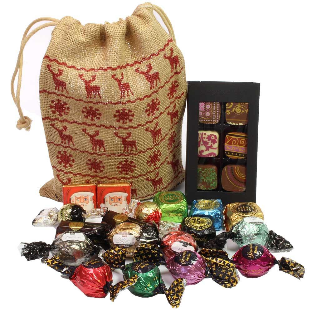 Sacco di Babbo Natale pieno di cervi per Natale -  - Chocolats-De-Luxe