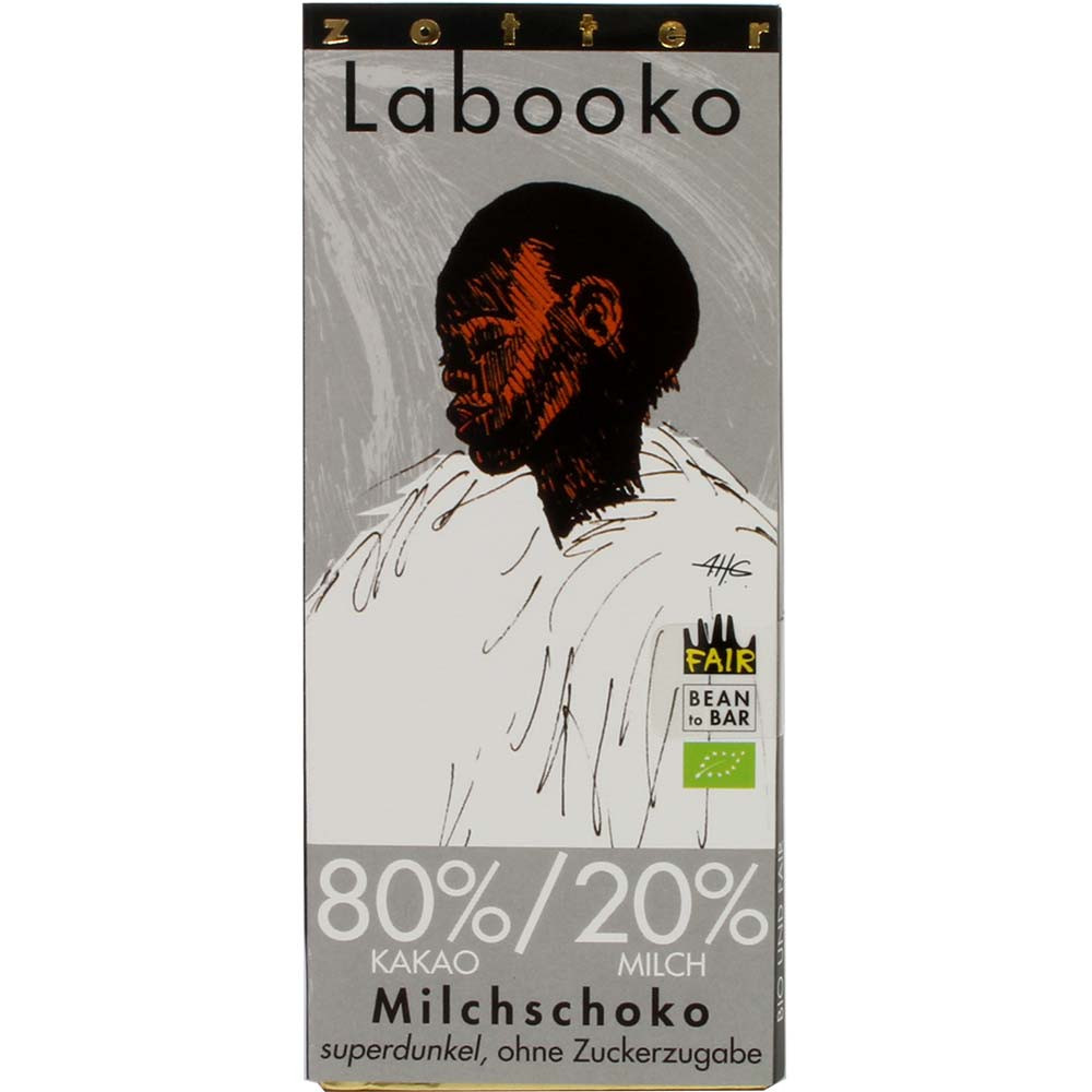 Labooko 80% / 20% cioccolato al latte fondente biologico